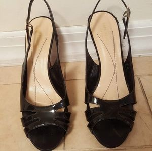 KATE SPADE Black Patent Leather Shoes Slingbacks